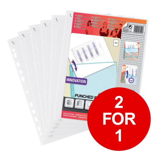 Elba A4 Heavy Duty Quick-in Punched Pocket Clear Ref 400012939 [Pack 100] [2 for 1] Jan-Dec 2019