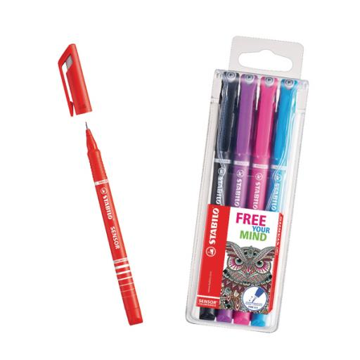 STABILO SENSOR Fineliner Pen Red (Pack of 10) with Free Assorted Fineliners