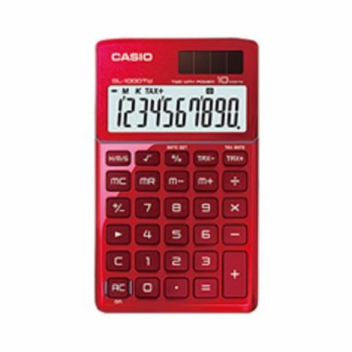 Casio SL-1000TW-WE-S-EP Handheld Calculator 8 Digit Display Dual Power (Red)