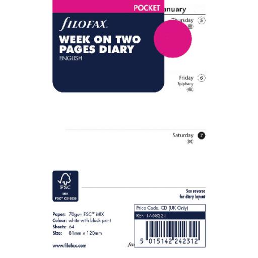 Filofax Pocket Week To View Diary Refill 2019 19-68221