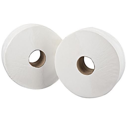 2Work White 76mm Core 2-Ply Jumbo Roll 92mmx410m (Pack of 6) 2W70203