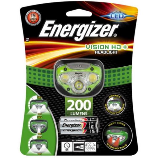 Energizer Vision HD Plus Headlight Dimmable LED 200 Lumens 4 Light Modes Ref E300280600 *2017 Mailer*