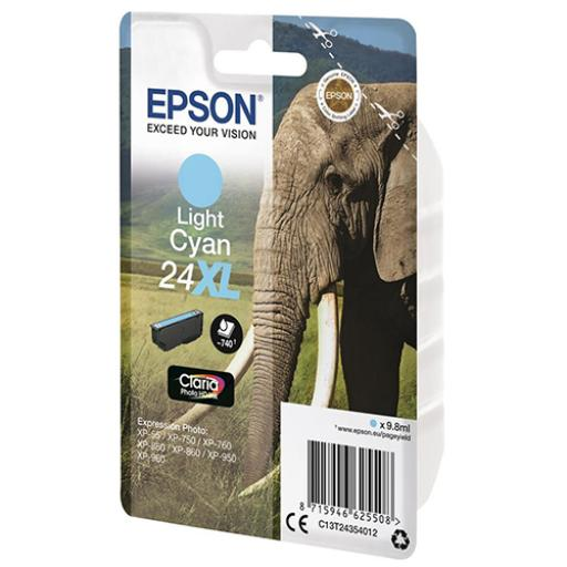 Epson 24XL Inkjet Cartridge Elephant High Yield 740pp 9.8ml Light Cyan Ref C13T24354012