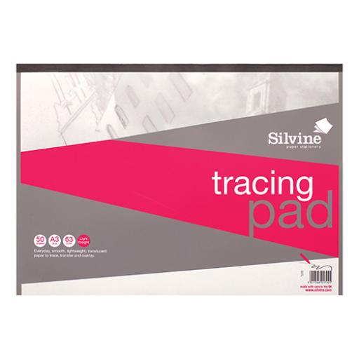 Silvine Tracing Pad Acid Free Paper 50gsm 50 Sheets A3 [COMPETITION]