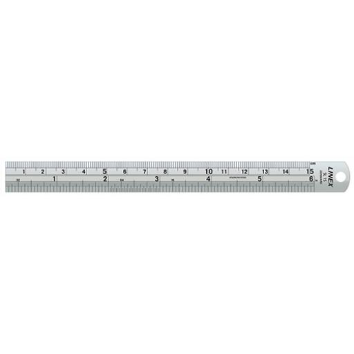 Linex Ruler Stainless Steel Imperial and Metric with Conversion Table 150mm Silver Ref LXESL15