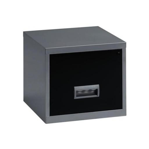 Pierre Henry Filing Cabinet Steel Lockable 1 Drawers A4 Maxi W400xD400xH370mm Silver and Black Ref 99071