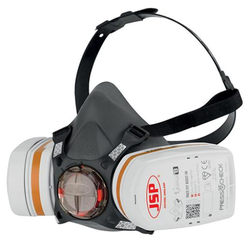 JSP Force8 Half Mask Complete With PressToCheck A2 P3 Twin Filter Cartridges Ref BHT0B3-0L5-N00