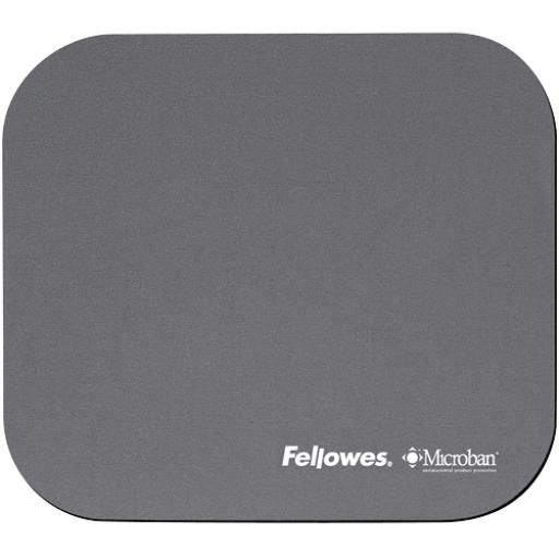 Fellowes Microban Antibacterial Mouse Pad with Non-Slip Base (Silver)