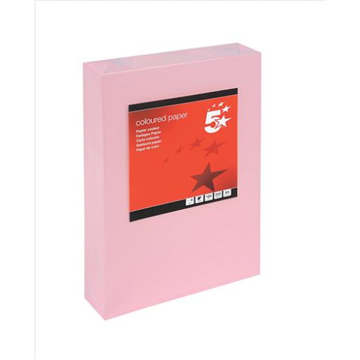 5 Star Office Coloured Card Multifunctional 160gsm A4 Light Pink [250 Sheets]