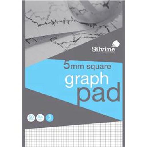 Silvine (A4) Student Graph Pad 50 Sheets 90gsm 5mm Quadrille White Pack of 10 (Prize Draw) April-December 2016