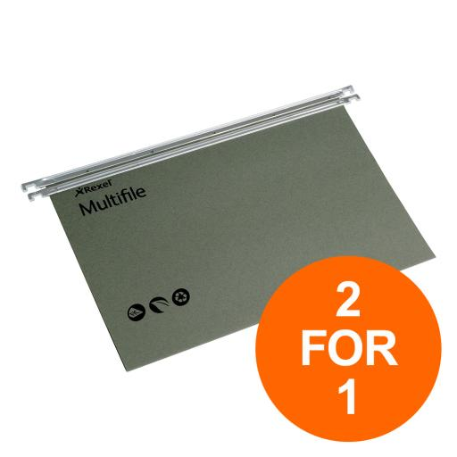 Rexel Multifile Susp File Manilla 15mm V-base 180gsm Foolscap Grn Ref 78008 [Pack 50] [2 For 1] Aug 2019