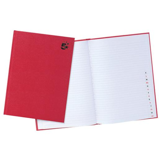 5 Star Office Manuscript Notebook Casebound 70gsm Ruled and Indexed 192pp A4 Red [Pack 5]