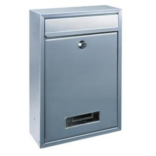 Rottner Tarvis T02943 Classic Steel Mailbox (Silver) Suitable for wall mounting (fixing screws included)