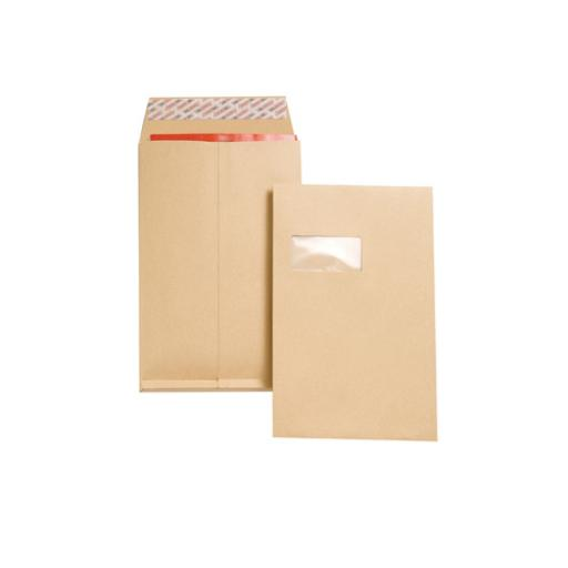 New Guardian Envelopes Peel and Seal Window Gusset 25mm 130gsm C4 Manilla Ref J27366 [Pack 100]