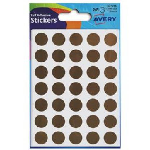 Avery (13mm) Packets of Round Labels (Gold)