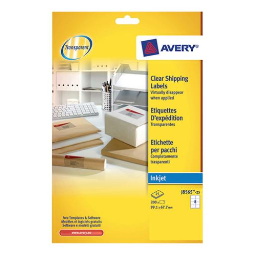Avery Addressing Labels InkJet 8 per Sheet 99.1x67.7mm Clear Ref J8565-25 [200 Labels]