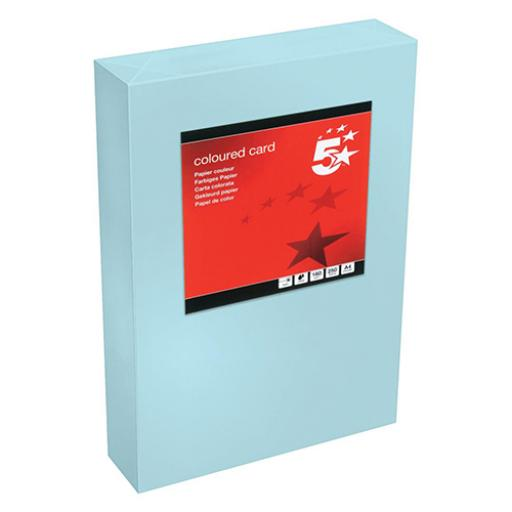 5 Star Office Coloured Card Tinted 160gsm A4 Medium Blue [Pack 250]
