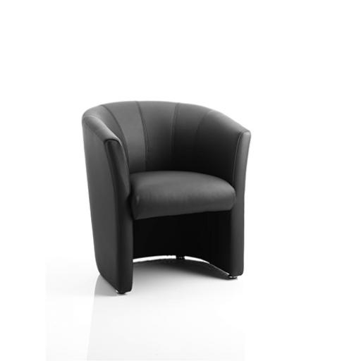 Trexus Tub Arm Chair Black Leather 450x480x460mm Ref BR000100