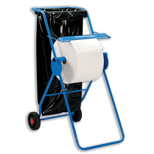 WYPALL* Mobile Stand Wiper Dispenser 6155 Large Roll with Cutter 2 Wheels Tubular Frame Blue Ref C01848