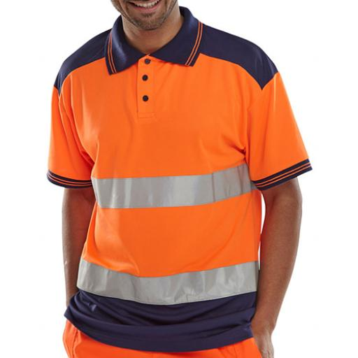 BSeen Polo Shirt Two Tone Orange / Navy L