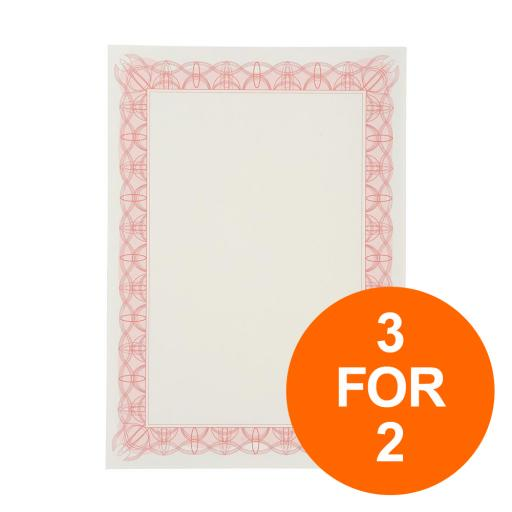 Certificate Papers with Foil Seals 90gsm A4 Reflex Red [30 Sheets] [3 for 2] Jul-Sept 19