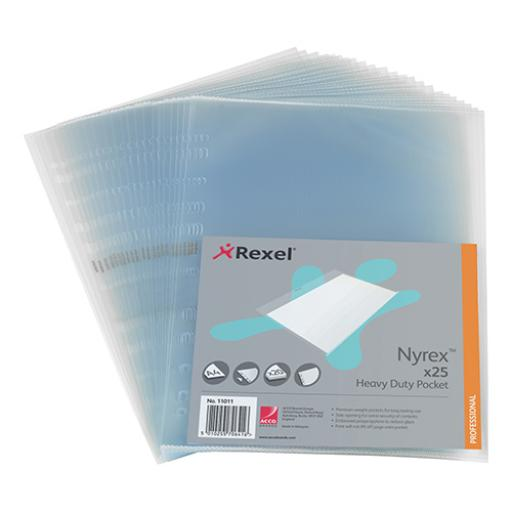 Rexel Nyrex Heavy-duty Pocket Polypropylene Side-opening 115 Micron A4 Clear Ref 11011 [Pack 25]