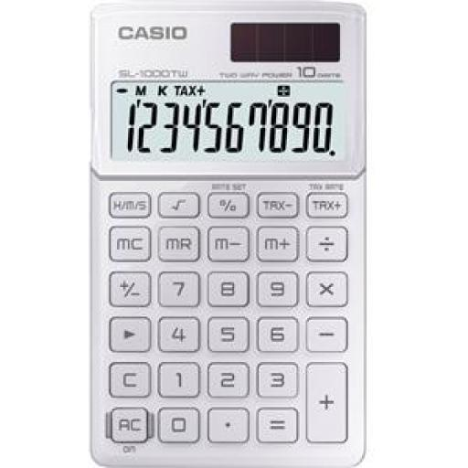 Casio SL-1000TW-WE-S-EP Handheld Calculator 8 Digit Display Dual Power (White)