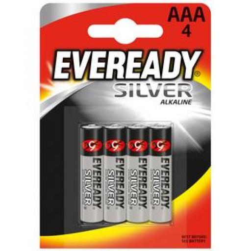 Eveready Silver AAA Alkaline Battery Pack (Silver) Pack of 4 637330