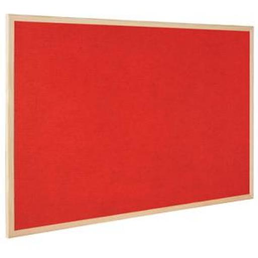 Bi-Office (900 x 600mm) Double Sided Cork and Felt Notice Board (Red)
