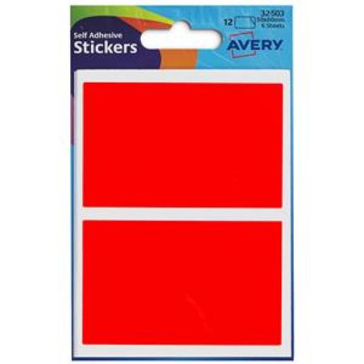 Avery (50x80mm) Wallet Of Self Adhesive Labels (Red) Pack of 12 Labels