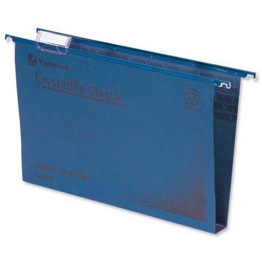 Rexel Crystalfile Classic Suspension File Manilla 30mm Wide-base 230gsm Foolscap Blue Ref 70625 [Pack 50]