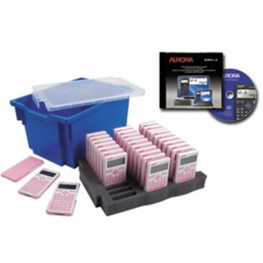 Aurora CK61 Class Pack (30 x AX-595PK calculators and 1 x EMU-2 Emulator Software) with Gratnells Storage Tray for KS3/KS4