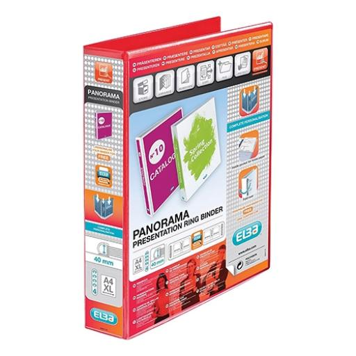 Elba Panorama Presentation Ring Binder PP 4 D-Ring 40mm Capacity A4 Red Ref 400008507 [Pack 6]