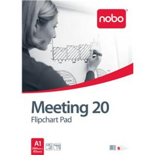 Nobo (A1) Flipchart Pad Plain 70gsm 20 Sheets (Pack of 5)