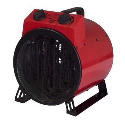 Industrial Drum Fan Heater with Thermostat 2 Heat Settings 2kW 3kW 4.4kg Red/Black Ref IG9301