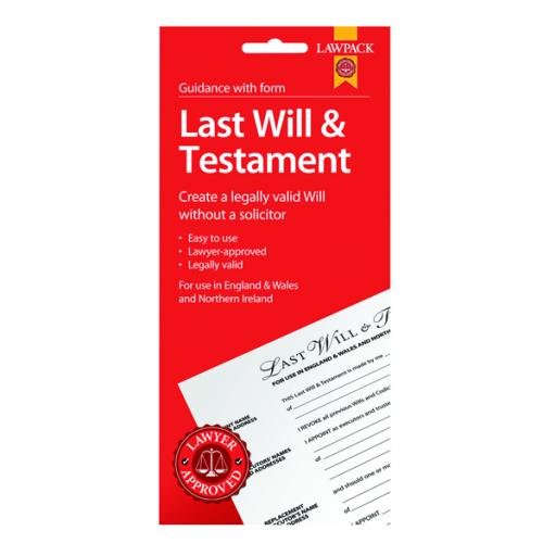 Law Pack Last Will And Testament Pack (Pack of 5) F230