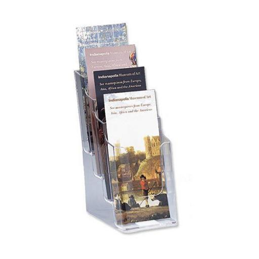 Literature Display Holder Multi Tier for Wall or Desktop 4 x 1/3xA4 Pockets Clear