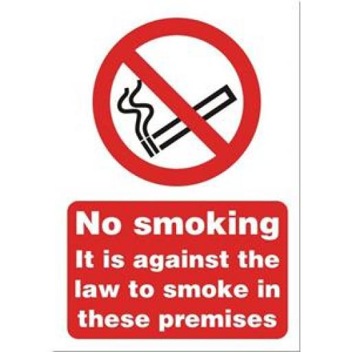 Stewart Superior SB004SAV Self-Adhesive Vinyl Sign (148x210mm) - No Smoking it is Against the Law to Smoke in These Premises