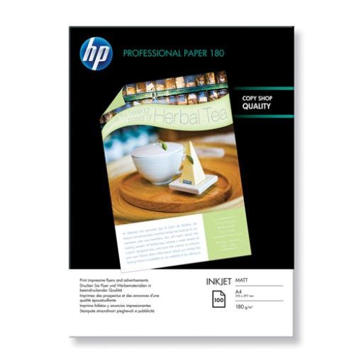 HP A4 White Professional Matte Inkjet Paper (Pack of 100) Q6592A