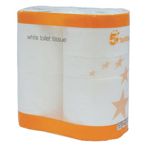 5 Star Facilities Toilet Rolls 2-ply 102x92mm 4 Rolls of 200 Sheets Per Pack White [Pack 9]