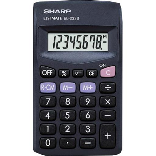 Sharp Pocket Calculator 8 Digit Display 3 Key Memory Battery Powered 60x8x103mm Black Ref EL233SBBK