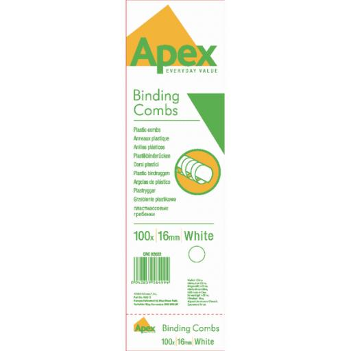 Fellowes Apex 16mm White Plastic Binding Combs (Pack of 100) 6202201