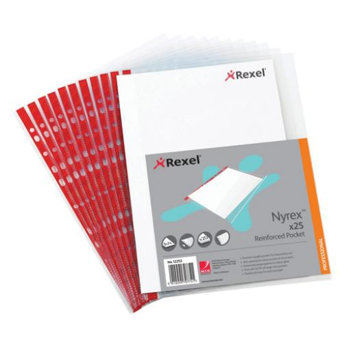 Rexel Nyrex Pocket PVC Open Side Clear (Pack of 25) Foolscap R149L 12263