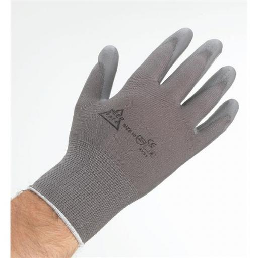 KeepSafe Size 8 PU Coated Pair of Safety Gloves (Grey) Ref 303030080
