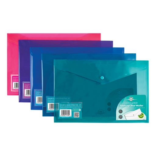Concord Stud Wallet File Vibrant Foolscap Assorted Ref 7089-PFL [Pack 5] [3 For 2] Jul-Sep 2018