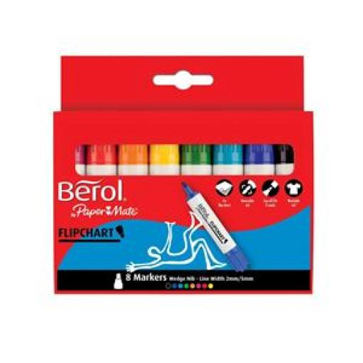 Berol Flipchart Markers Assorted (Pack of 8 Markers)
