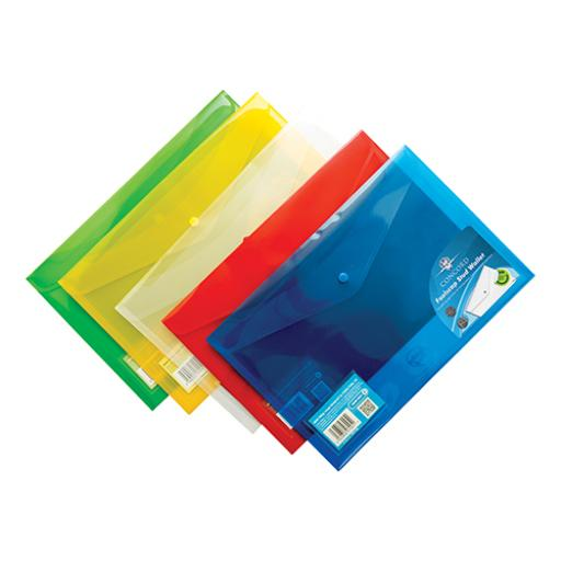 Concord Stud Wallet File Translucent Foolscap Assorted Ref 7095-PFL [Pack 5] [3 For 2] Jul-Sep 2018