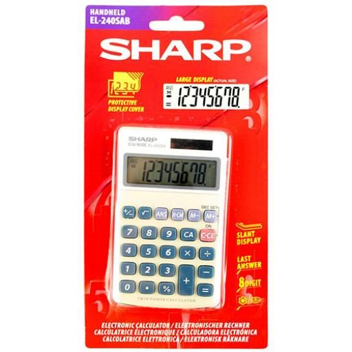 Sharp Handheld Calculator 8 Digit 3 Key Memory Solar and Battery Power 71x17x116mm Silver Ref EL240SAB