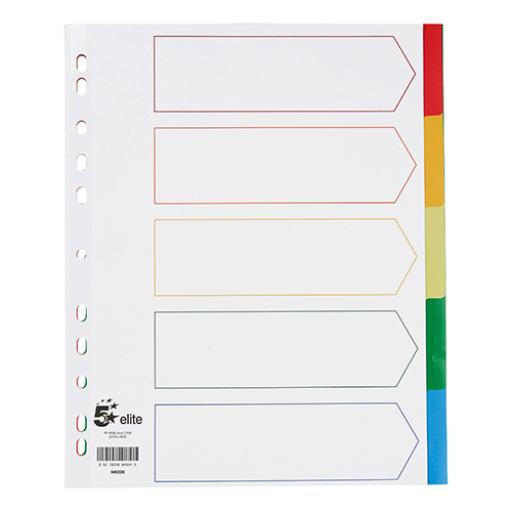 5 Star Elite Divider 5-Part Polypropylene Punched Reinforced Coloured-Tabs 120 Micron Extra Wide A4 White