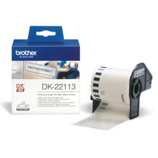 Brother P-touch DK-22113 (62mm x 15.24m) Continuous Clear Film Tape